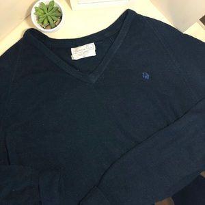 Christian Dior Mens Navy V Neck Sweater 100% Orlon